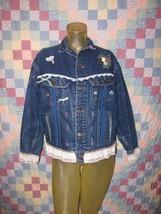 Lee Riders Jacket Women's Size L 100% Cotton Rivet Button Lace Trim Blue... - $28.49