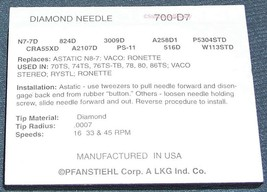 700-D7 RECORD NEEDLE STYLUS for Astatic 70TS 74TS 80TS Cartridge Astatic N8-7D image 2