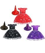 Baby Girls Star Pattern Dress With Witch Hat For Toddlers Girls Hallowee... - $14.98