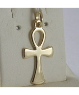 SOLID 18K YELLOW GOLD CROSS, CROSS OF LIFE, ANKH SHINY 0.98 INCHES MADE ... - £89.22 GBP