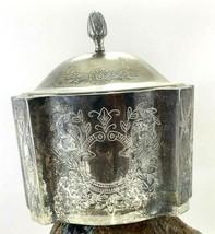 Avon Antique Etched Silver Metal Trinket Box Tarnished Pre-owned Velvet Lined - $22.24