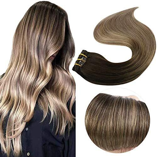Easyouth Clip in Remy Hair Extensions Double Weft Hair Balayage Color 2 Darkest