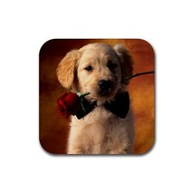 Cute Golden Retriever Puppy Puppies Dogs Pet Animal (Square) Rubber Coaster - $1.99
