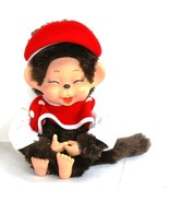 Monchhichi girl doll, baseball blouse, Vintage style doll, red hat Jap... - $45.00