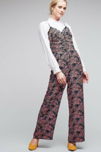 New Anthropologie Elma Lace Trim Floral Jumpsuit by Seen Worn Kept $138 SZ 4 - 6