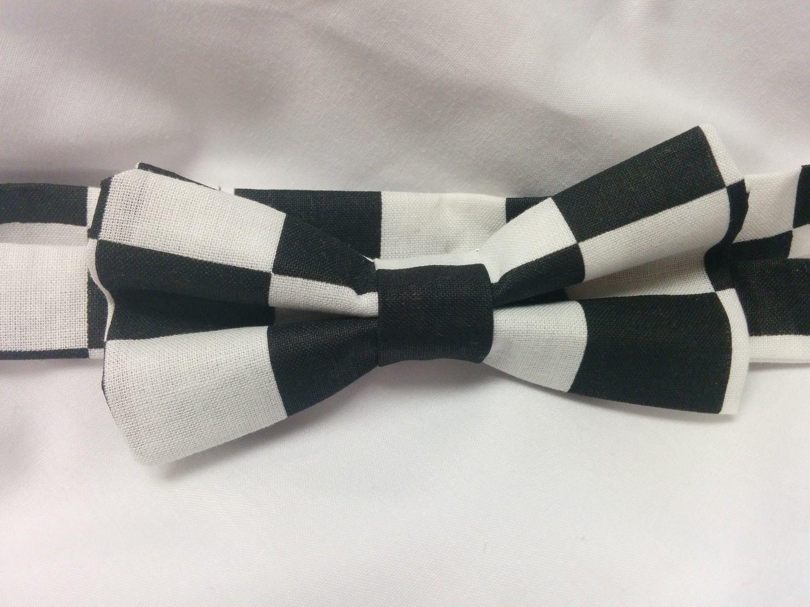 Checkered Bowtie, Men, Boys, Black White Wedding, Groomsmen, Ringbearer, Racing