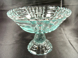 Heavy Jeannette Glass Louisa Light Ice Blue Footed Center Compote Fruit Bowl - $26.99