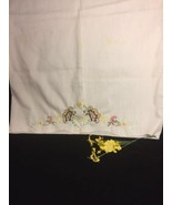 Vintage Embrodiery Butterfly Pillow Case Excellent Condition - $21.78