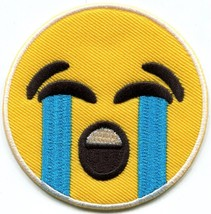 Crying emoji smiley face emoticon embroidered applique iron-on patch S-1418 - $2.95