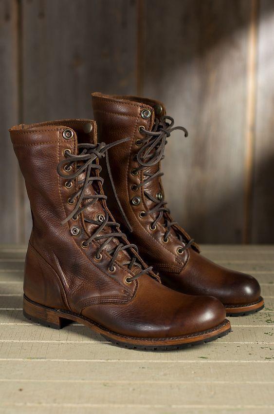 Handmade Men's Brown Military Boots, Men Combat Boots