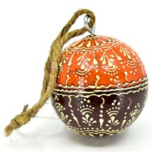 Asha Handicrafts Hand Painted Mango Wood Floral Holiday Christmas Ornament  image 2