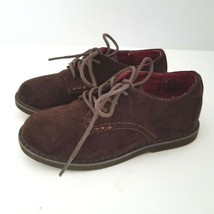 Cole Haan Boys 10 Shoes Lil Shane Brown Suede Lace Up Oxfords Nike Air Soles - $10.00