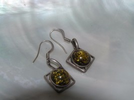 Vintage Green Amber Round Cabs in Unmarked Silver Squares Dangle Earrings for  - $12.19