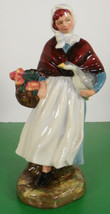Royal Doulton Figurine COUNTRY LASS HN 1991 Girl Holding Flowers and Goose - $49.45