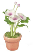 DOLLHOUSE MINIATURES WHITE MORNING GLORIES IN POT #G7378 - $8.90