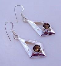Smoky Stone Silver Overlay Handmade Jewelry Earring-OJ-210-8 - $3.99