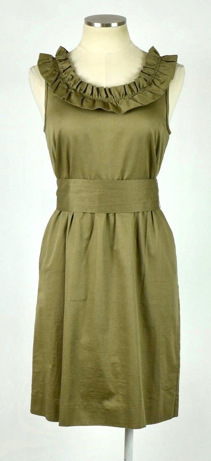 J.Crew Olive Ruffled Cotton Boat Neck Knee Length Shift Dress Sleeveless M