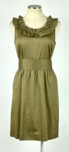 J.Crew Olive Ruffled Cotton Boat Neck Knee Length Shift Dress Sleeveless M - $22.76