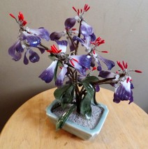Vintage Wire GLASS Asian BONSAI Tree with PURPLE Amethyst and Cherry Blo... - $15.00