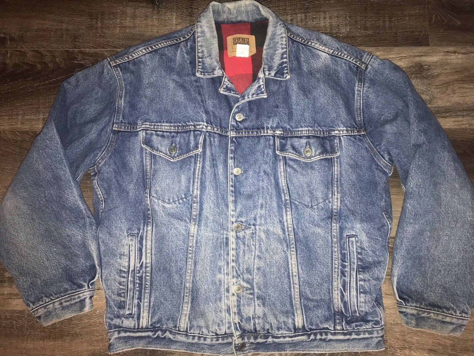 Primary image for Gap ~ Vtg Men's Denim Jean Blue Coat Jacket Lined Buffalo 1990's Trucker ~ M