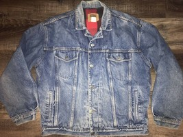 Gap ~ Vtg Men's Denim Jean Blue Coat Jacket Lined Buffalo 1990's Trucker... - $71.52