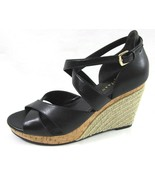 New COLE HAAN Black Leather Wedges 8.5 Air Sole Woven Strappy Heels Shoes - $64.35