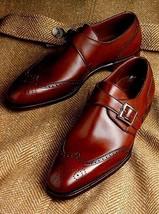 Monk Single Buckle Strap Genuine Leather CapToe Maroon Color Men PartyWear Shoes - $139.90+
