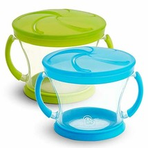 2 Piece Snack Catcher Cups Blue/Green Spill Proof Toddler Snack Containers - $8.82