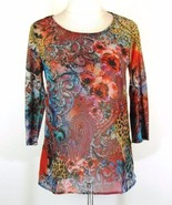 Chico's Size 0 (S) Chiffon Front Rhinestone Shimmer Tee Top - $16.99
