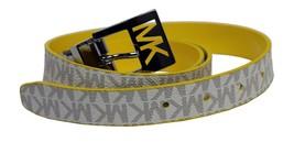 Michael Kors MK Women's Premium Logo Reverisble Belt White & Yellow 552501