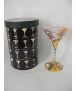 Lolita Hand Painted Glass Martini Collection Birthday Girl  Recipe On Bo... - $13.35