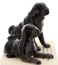 Hagen-Renaker Miniature Ceramic Dog Figurine Pug Black Mama Sitting and Baby Pup image 8