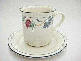 Lenox Poppies on Blue 1 Mug and Saucer  Made in USA Very Good Condition - $12.86