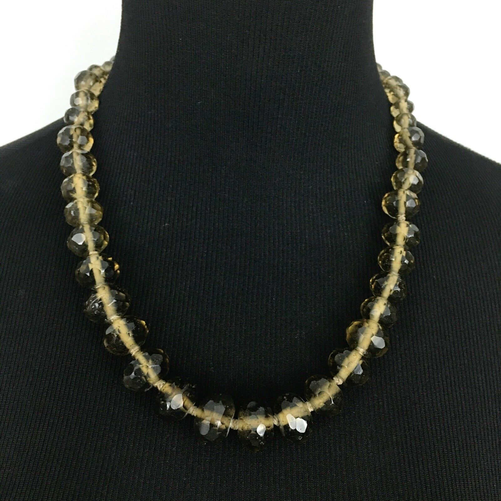 """TALBOTS graduated faceted bead necklace - brown crystal glass chunky strand 21"""" - $19.60"""
