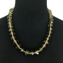 TALBOTS graduated faceted bead necklace - brown crystal glass chunky str... - $19.60