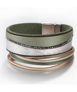 Flashbuy Rhinestone Wide Leather Bangles for Women Simple Wave Pattern W... - $16.29