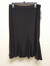 JM Collection Petite Flounce Godet Solid Skirt 82266 Deep Black PL - $17.30