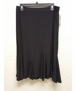 JM Collection Petite Flounce Godet Solid Skirt 82266 Deep Black PL - $17.58
