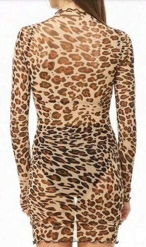Forever 21 Sheer Mesh Leopard Cheetah Print Sexy Mock Neck Dress Long Sleeve S image 4
