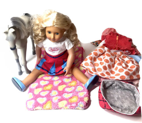 "Our Generation 18"" Doll Blonde Hair Blue Sleeper Eyes Outfit Battat Horse Lot - $47.35"