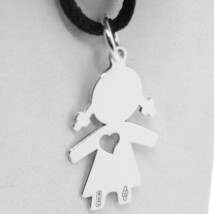 18K WHITE GOLD LUSTER PENDANT WITH GIRL BABY WITH HEART PERFORAT MADE IN ITALY  image 2