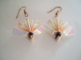 Origami Wear By Lon Pink Vintage Fans Paper dangle Earrings in original box - $7.89