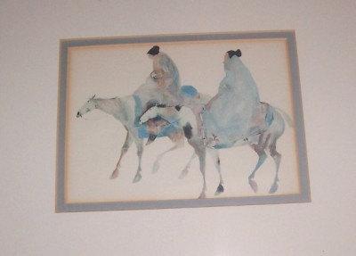 "1990 Carol Grigg ""Guardians"" Framed Reproduction Native Indian Litho Print"