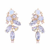 Jewelry Gold Color Crystal Plant Statement 925 Silver Needle Drop Earrings - $8.95