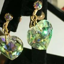 Vintage Aurora Borealis Screw Back Heart Crystal Earrings - $35.63