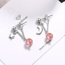 New Pink Crystal Long Earring Tassel Chain Earring For Women Fashion Kor... - $8.77