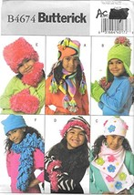Butterick Sewing Pattern B4674 One Size, Children's/Girls', Scarves and ... - $4.83