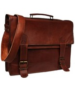 "15"" Inch New Men's Leather Business Messenger Laptop Briefcase Brown Off... - $56.73"