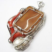 Silver Pendant 925 Cameo Cameo, Women's, Branch Red Coral, Flowers, Butterfly image 6
