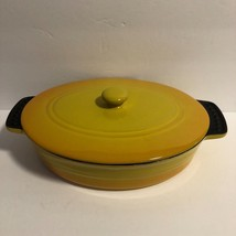 Parini Oval Baker Bakeware With Lid Non Stick Yellow - $13.09